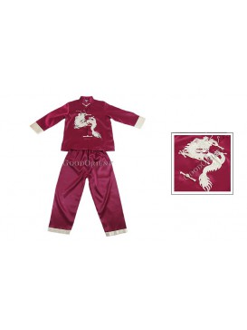 Golden Dragon Long Sleeves Kungfu Suit---Claret