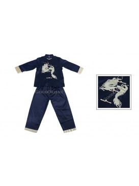 Pale Golden Dragon Long Sleeves Kungfu Suit---Navy