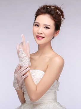 Chic Embroidery Floral Wedding Gloves