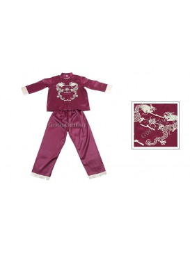 Golden Double Dragon Kungfu Suit---Claret