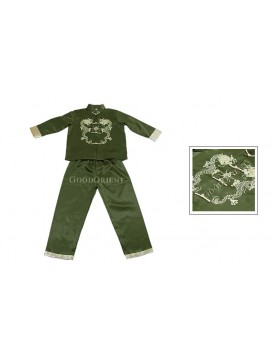 Golden Double Dragon Kungfu Suit---Moss Green