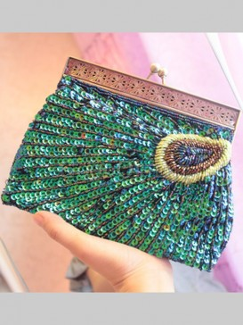 Green Scallop Beaded Bag