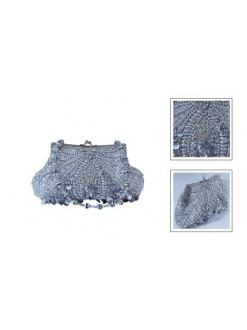 Silvery White Ocean Pearl-liked Beaded Bag