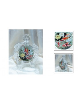 Carp & Lotus Crystal Snuff Bottle Decoration