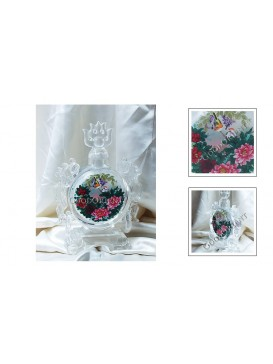 Birds & Peony Crystal Snuff Bottle Decoration