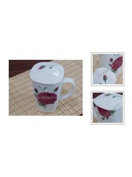 Red Rose Bone China Juice Mug with Cover