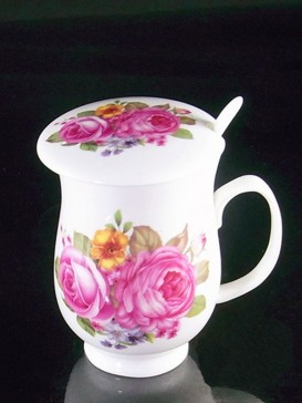 Pink Lily Bone China Juice Mug with Cover