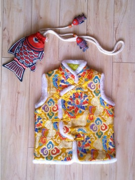 Chic Embroidery Floral Waistcoat For Boy--Gold