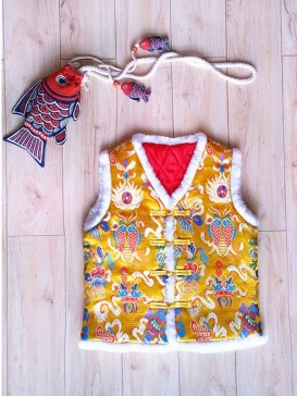 Delicate Embroidery Double Fish Waistcoat For Boy-Gold