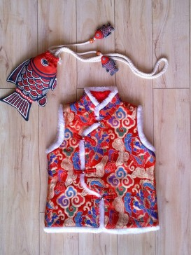 Chic Embroidery Floral Waistcoat For Boy--Red