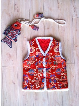 Delicate Embroidery Double Fish Waistcoat For Boy-Red