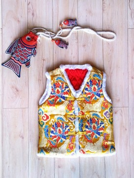 Yellow Colorful Embroidery Waistcoat For Boy