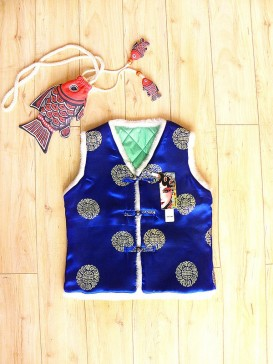 Traditional Blue Embroidery Waistcoat For Boy
