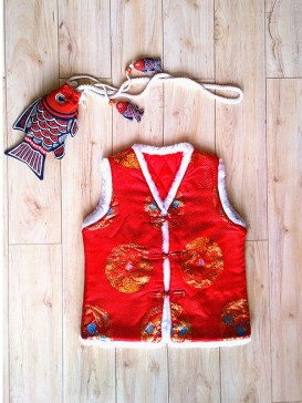 Traditional Red Embroidery Waistcoat For Boy