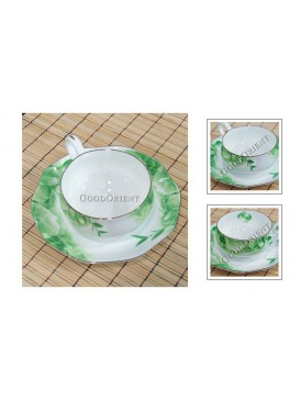 Lime Green Bone China Coffee Cup with Saucer