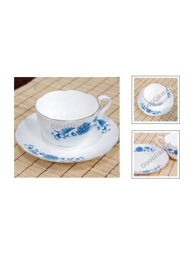Clear Blue Flower Bone China Coffee Cup with Saucer