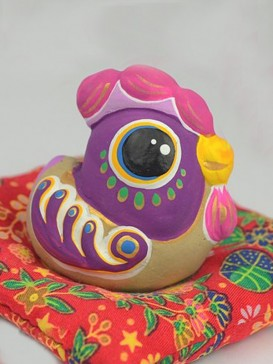 Hand-Painted Zodiac Clay Sculpture Series--Rooster
