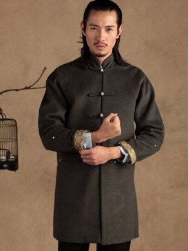 Classical Grey Chinese Men's Long Gown