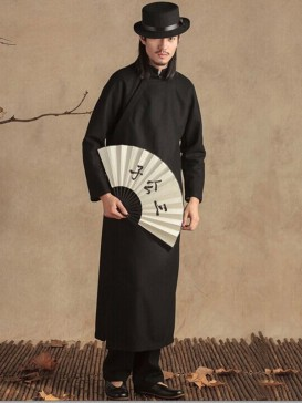 Fashionable Black Men's Woolen Gown