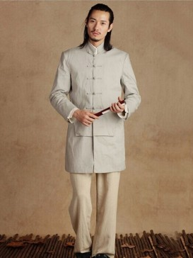 Traditional Pale Grey Men's Long Gown