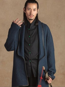Handsome Blue Woolen Long Gown