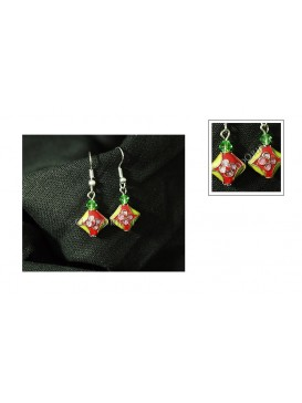 Red Diamond Cloisonne Earring