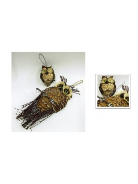 Hand Woven Straw Owl Decoration Set