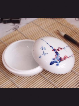 Delicate Plum Blossom Style Seal Ink Container