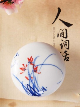 Oriental Orchid Style Seal Ink Container