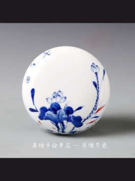 Oriental Lotus Style Seal Ink Container