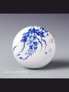 Oriental Style Seal Ink Container--Wisteria
