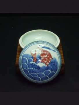Oriental Style Seal Ink Container--Carp