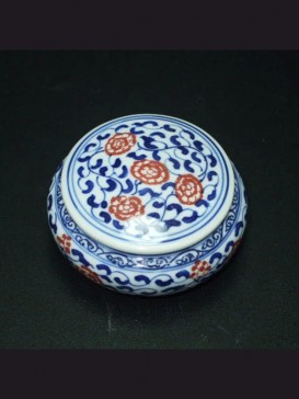 Oriental Red Floral Style Seal Ink Container
