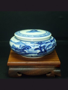 Oriental Style Seal Ink Container--Montain
