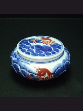 Oriental Style Seal Ink Container--Fish