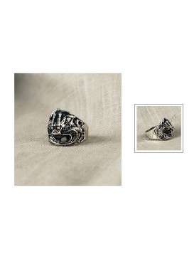 Imitated Silvery Dragon Ring