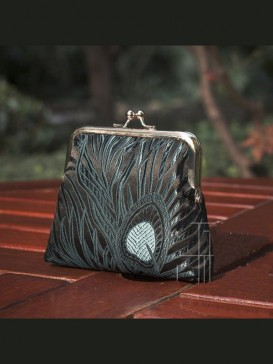 Delicate High-Grade Silk Purse--Black Bird Feather