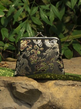 Delicate High-Grade Silk Purse--Black Floral
