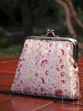 Lovely Pink Floral Silk Purse