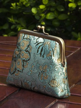 Oriental High-Grade Silk Purse--Blue Floral