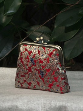 Beautiful Red Floral Silk Purse