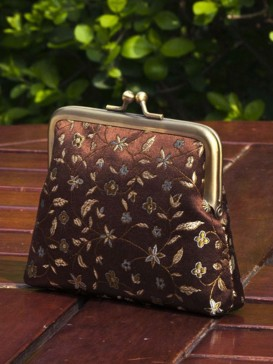 Classical Coffee Floral Silk Purse
