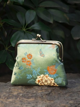 Attractive Peony Floral Silk Purse