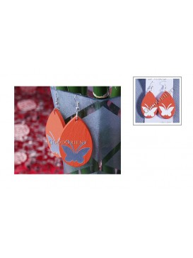 Orange Butterfly Wooden Earrings