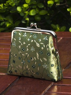 Fresh Green Floral Silk Purse