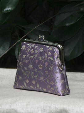 Charming Purple Floral Silk Purse