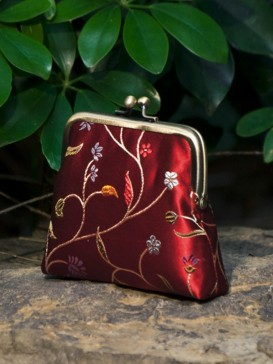 Festival Red Floral Silk Purse