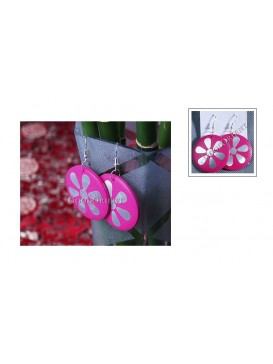 Fuchsia Lucky Flower Wooden Earrings