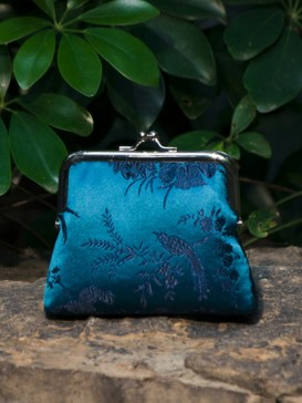 Oriental Bird Pattern Silk Purse--Bright Blue