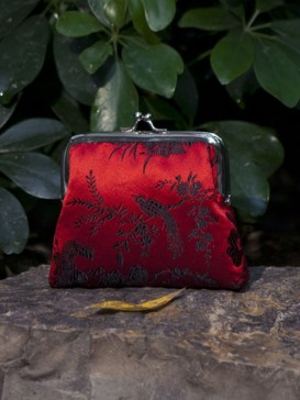 Oriental Bird Pattern Silk Purse--Red